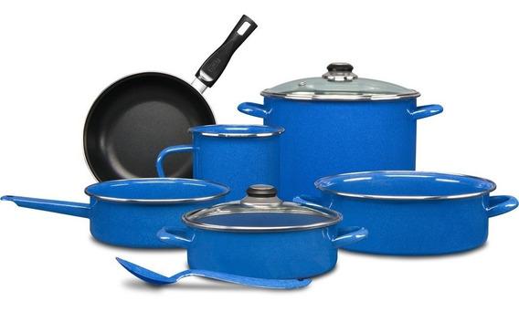 Batería De Cocina Cinsa 9 Piezas Color Azul Grafito