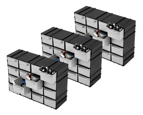 Kit 3 Caixas Organizadora Gaveteiro Modulável 16 Gavetas