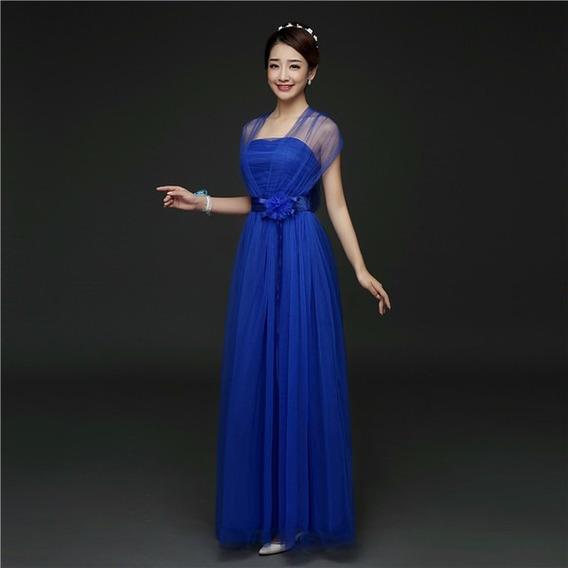 Vestido Longo De Chiffon Azul