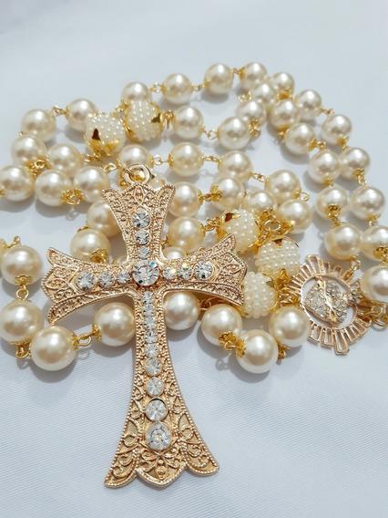 Terço De Noiva Banhado, Dourado Com Sagrado Coração, Pérolas
