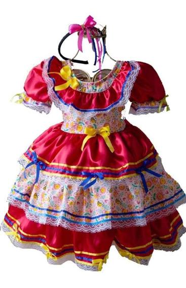 Vestido De Festa Junina Caipira Luxo Com Tiara De Brinde