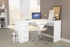 Mesa Em L Reversivel Office Fn 3 Gavetas P/ Estudos 2 Cores