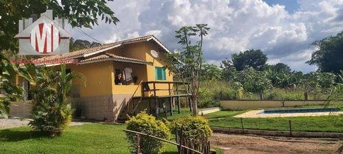 Chácara Rica Em Água Com 2 Lagos, Pomar, Pertinho Da Cidade, Casa Com 03 Dormitórios À Venda, 3335 M² Por R$ 450.000 - Pedra Bela/sp - Ch0074