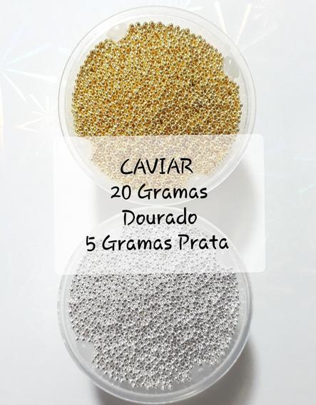Kit Caviar Metal 20gr Dourado E 5gr Prata Pedrarias Promoção