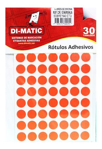 Rótulos Adhesivos, Círculos Naranja Ref 13 Dimatic.