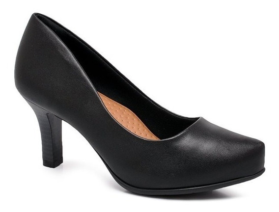 Lançamento Sapato Scarpin Comfortflex Salto Médio Preto