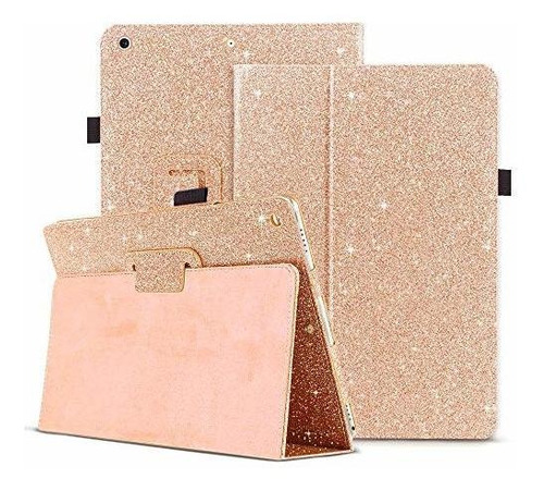 iPad 7th Generation Case, Clarkcas Glitter Leather Bifold Sm