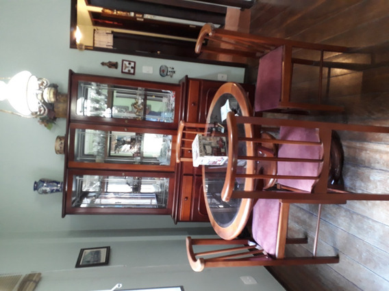 Conj. Mesa Com 4 Cadeiras + Bufet + Cristaleira