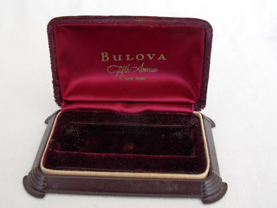 Bulova Fifth Avenue New York Estuche Vintage Guinda