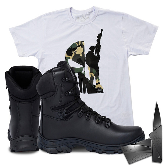 Botatática Impermeável 7013+camiseta Sniper Branca+canivete
