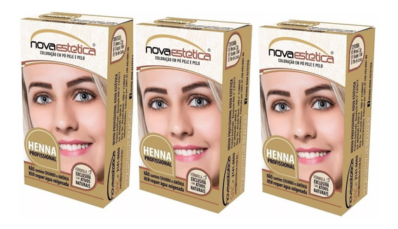 3 Kit Henna P/sobrancelhas Nova Estética Frete Gratis+brinde