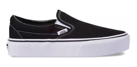 Plataforma Slip On Vans Lona Negra Suela Blanca 100%original