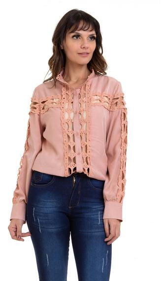 Camisa Kinara Cetim Detalhes Em Renda Vazada Rosa