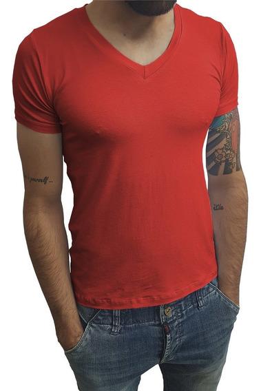 Camisa Gola V Média Manga Curta Elastano Slim Fit Básica