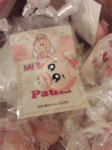 25 Llaveros Recuerdo Bautizo Baby Shower Puerquito Migajon