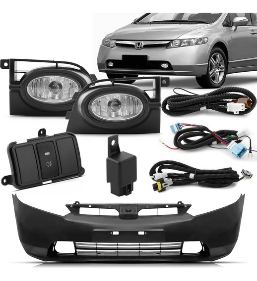Parachoque New Civic 2006 A 2008 Com Kit Farois De Milha