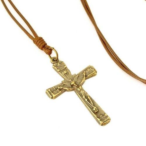 Colar Cordão Crucifixo Cruz Com Cristo Ouro Velho Marrom