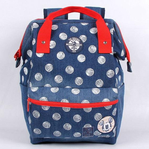 Mochila Escolar G Dermiwil Mickey Com Alça Jeans Poa - 51931