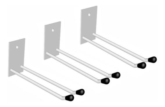 Kit 3 Suportes Parede Para Rodos E Vassouras 30cm Ferro