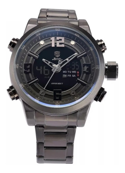Relógio Masculino Shark Anadigi Sh-343 - Preto E Branco