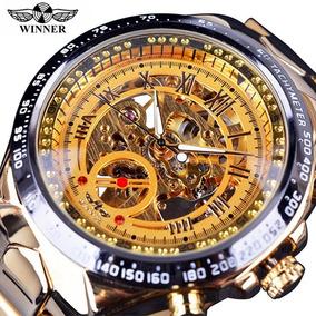 Relógio Masculino Automático Dourado Com Caixa De Brinde!