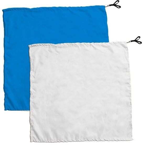 Swing Flag Quadrado Azul Claro E Branco- Vendido Por Par