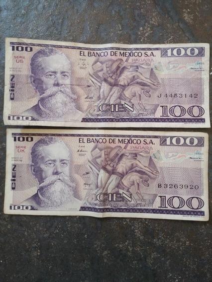 Billetes Antiguos De $100 Pesos Mexicans De 1982
