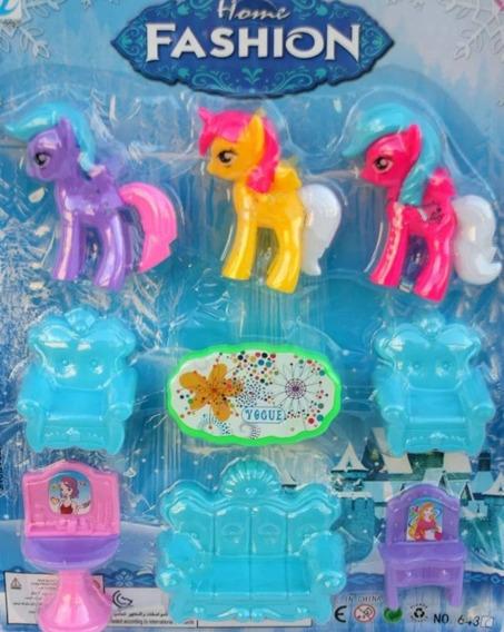 Set 3 Pony Unicornio + Accesorios Juguete Niña Ponys Muñeca