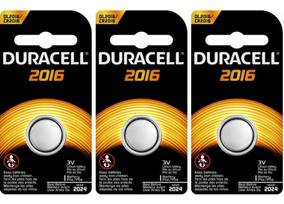 Kit Bateria De Lítio Metálico Cr 2016 Duracell C/3 Unidades