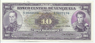Excelente Billete 10 Bolívares. Junio 2 1964. Serial S-7.