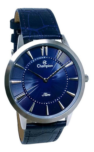 Relógio Champion Masculino Social Analógico Couro Slim Azul