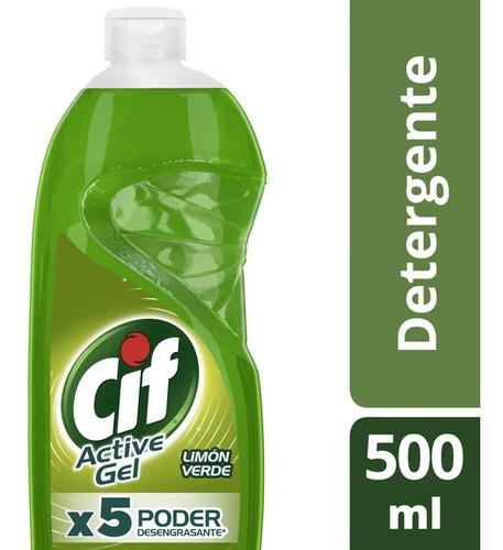 Cif Active Gel Detergente Lavavajilla Limón Verde 500ml