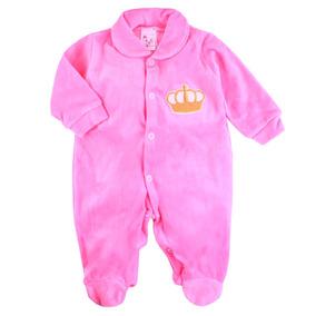 Macacão Bebê Em Plush Macio Rosa Com Bordado
