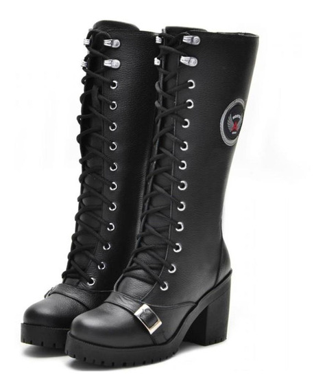 Bota Atron Shoes Couro Cano Alto Feminino Zíper Confort