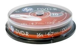 Dvd -r Gravável 4.7gb 120min 16x Pino Hp Pt Original