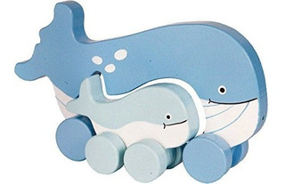 Jack Rabbit Creations Wooden Push Mommy Y Baby Whale Toy