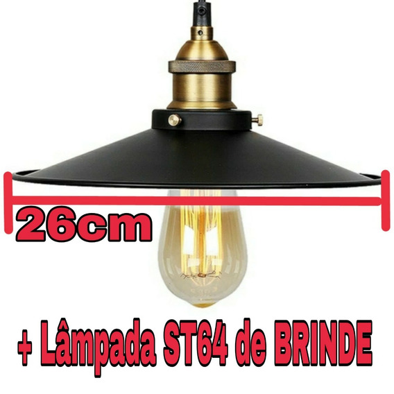 Lustre Pendente Industrial 26cm + Lâmpada St64 Nordic
