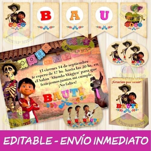 Kit Imprimible Coco Editable Decoración Candy Bar Envío Ya