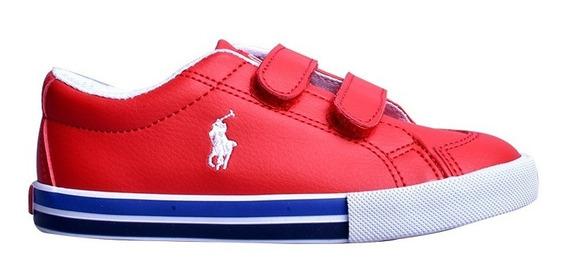 Tenis Polo Ralph Lauren Para Niño Tipo Vinipiel Rojo Velcro