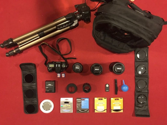 Kit Nikon D7000 Completo Lentes Mochila Filtros Tripé