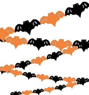 Guirnalda Murciélagos Naranja Y Negro Decoracion Halloween