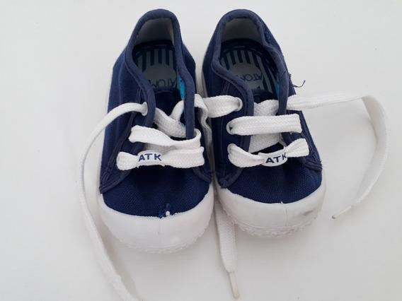 Zapatillas De Lona Atomik Talle 20 Color Azul