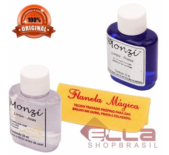 Kit Limpa Prata E Limpa Ouro Monzi 35ml Gratis Flanela Magic