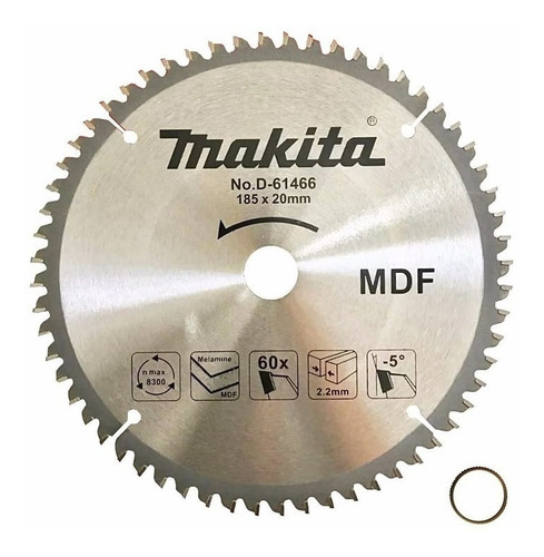 Imagen 1 de 7 de Disco Hoja Sierra Makita Mdf Melamina 185mm 20mm 60d D-61466