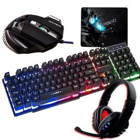 Kit Gamer Teclado Semi Mecânico +mouse 7 Botões +headset Led