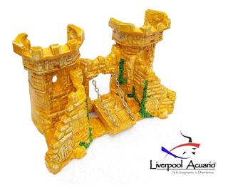 Adornos Para Acuarios - Castillo Medieval Echo En Resina