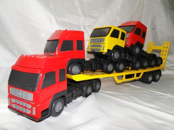Caminhão Brinquedo Cegonha Volvo Trucado Plataforma Guincho