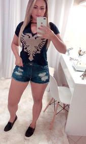 Camisa Blusa T-shirt Básica Pedraria Bordado Pedras Moda