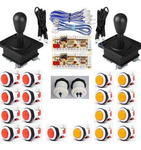 Kit 2p Arcade 20 Botones 2palancas 2interfaces Globalarcade