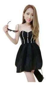 Vestido De Festa Debutante 15 Anos Preto Sku 091